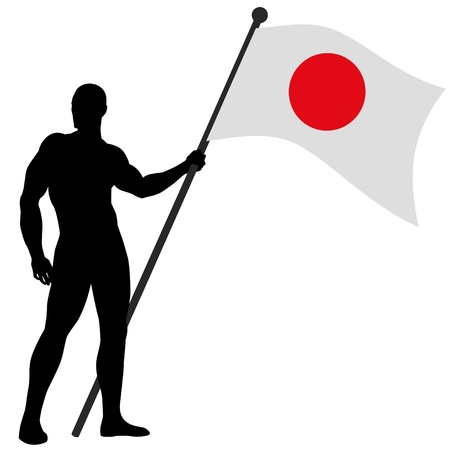 japanese flag: a flag bearer Illustration