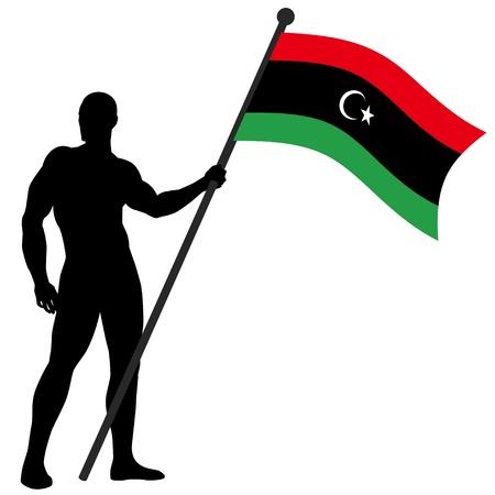 libya: a flag bearer Illustration