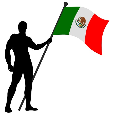 flag of mexico: a flag bearer Illustration