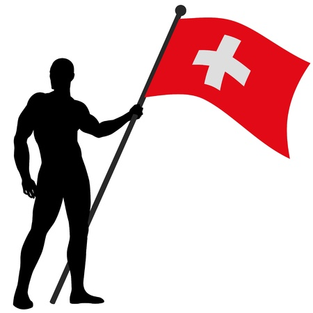 swiss flag:  a flag bearer Illustration