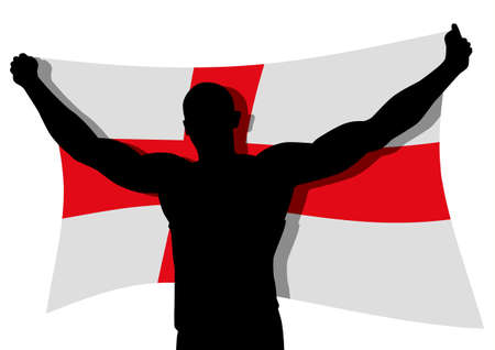 a man figure carrying the flag of England Vector