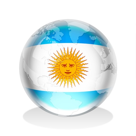 argentina flag: Crystal sphere of Argentine Republic flag with world map
