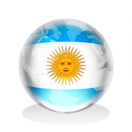 argentina bandera: Esfera de cristal de la bandera de la Rep�blica Argentina con el mapa mundial