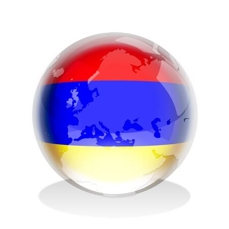 armenian: Crystal sphere of Armenian flag with world map