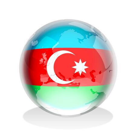azerbaijan: Crystal sphere of the flag of Azerbaijan with world map