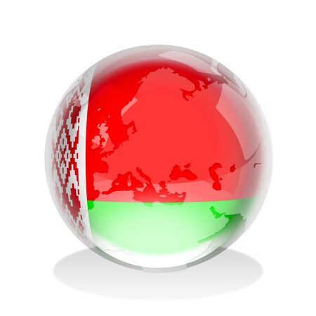 belarus: Crystal sphere of the flag of The Republic of Belarus with world map Stock Photo