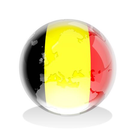 Crystal sphere of Belgium flag with world map photo