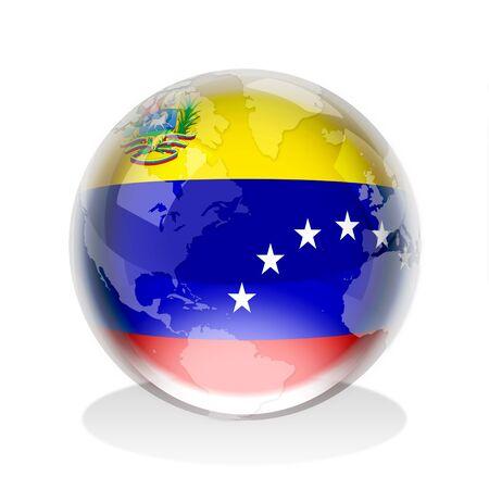 Venezuela flag: Esfera de cristal de la bandera de Venezuela con el mapa mundial