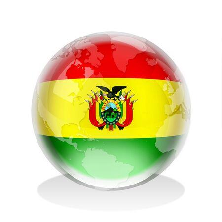 bandera bolivia: Esfera de cristal de la bandera de Estado Plurinacional de Bolivia con el mapa mundial
