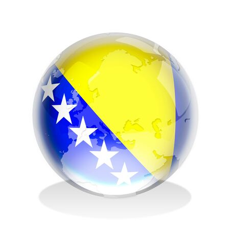 Crystal sphere of Bosnia Herzegovina flag with world map photo