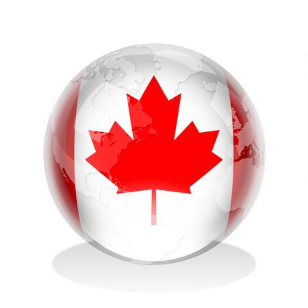 canadian flag: Crystal sphere of Canadian flag with world map Stock Photo