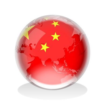 china flag: Crystal sphere of Peoples Republic of China flag with world map