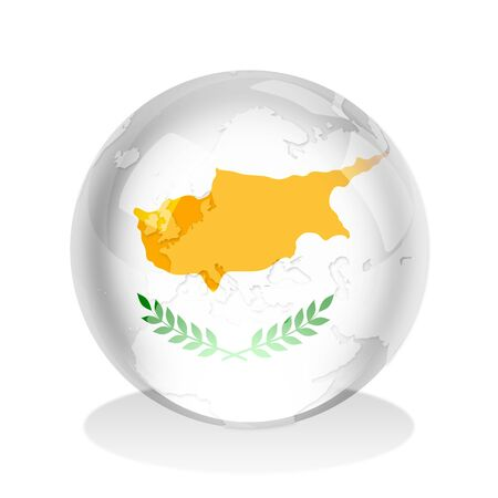 Crystal sphere of Cyprus flag with world map photo