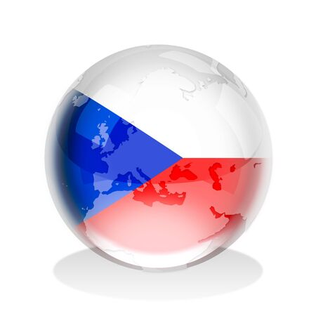 Crystal sphere of the flag of Czech Republic with world map photo