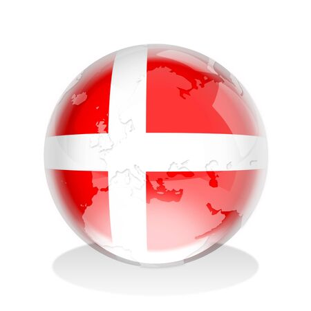 Crystal sphere of Denmark flag with world map