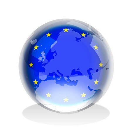 Crystal sphere of European Union flag with world map photo
