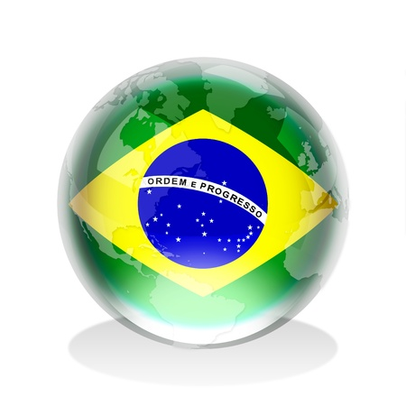 federative republic of brazil: Crystal sphere of Brazilian flag with world map