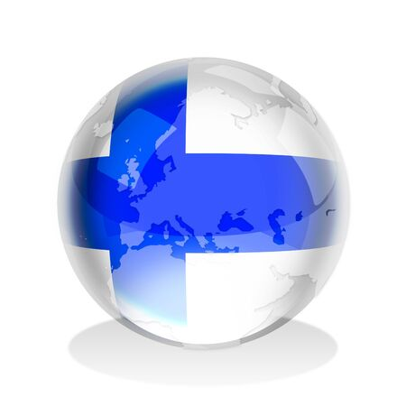 finland flag: Crystal sphere of Finland flag with world map