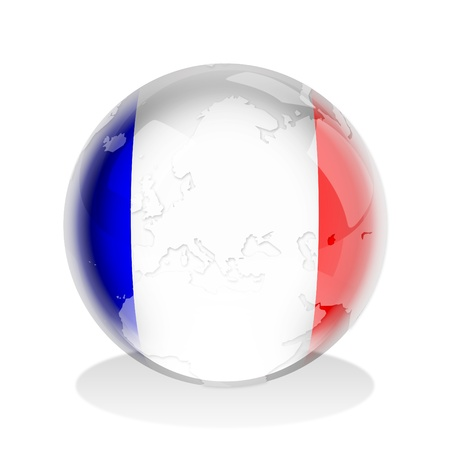 red sphere: Illustration of a glass sphere with French flag and world map in it