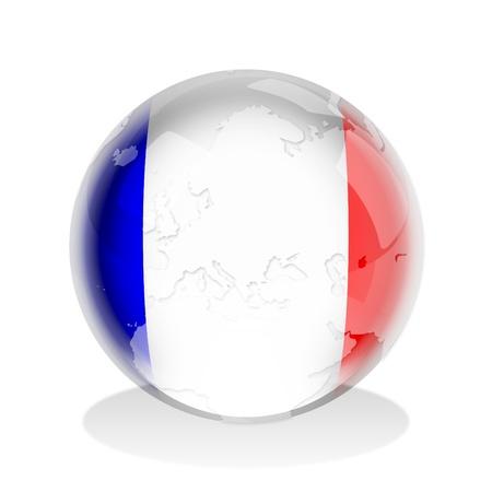 esfera de cristal: Ilustraci�n de una esfera de cristal con bandera francesa y mundial mapa en Foto de archivo