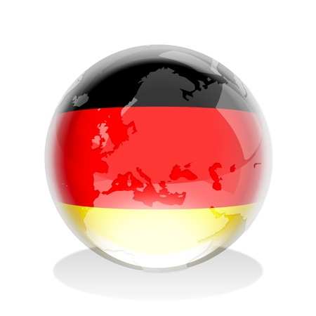 germany flag: Illustration of a crystal globe with Germany flag and world map