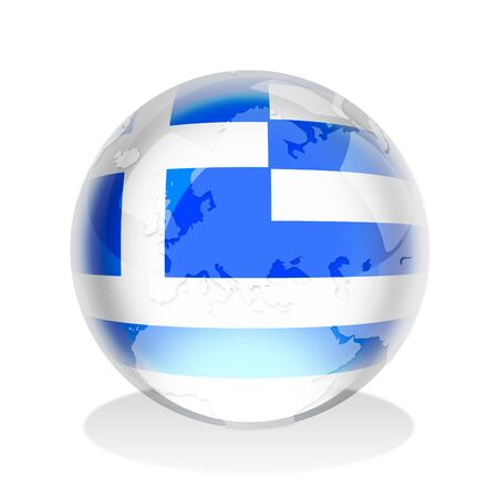hellenic: Crystal sphere of Greek flag with world map