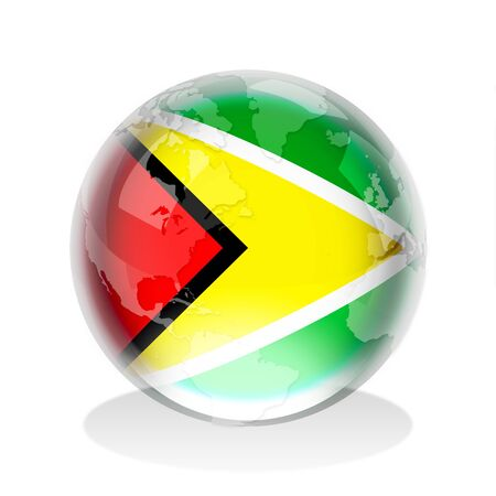 Guyana: Crystal sphere of the flag of Co-operative Republic of Guyana with world map Stock Photo
