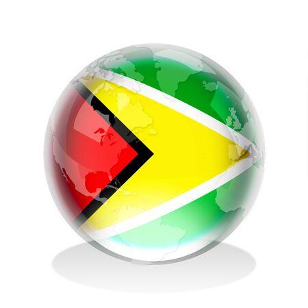 cooperativa: Esfera de cristal de la bandera de la Rep�blica Cooperativa de Guyana con el mapa mundial