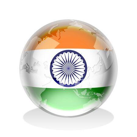 drapeau inde: Sph�re de cristal du drapeau indien avec la carte du monde Banque d'images