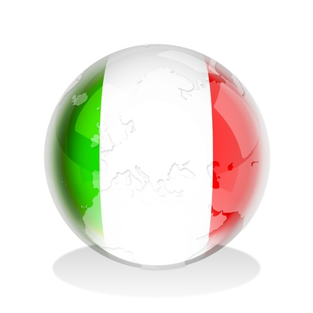 Illustration of a glass sphere with Italian flag and world map in it illustration