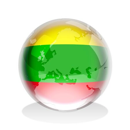 Crystal sphere of Lithuanian flag with world map photo