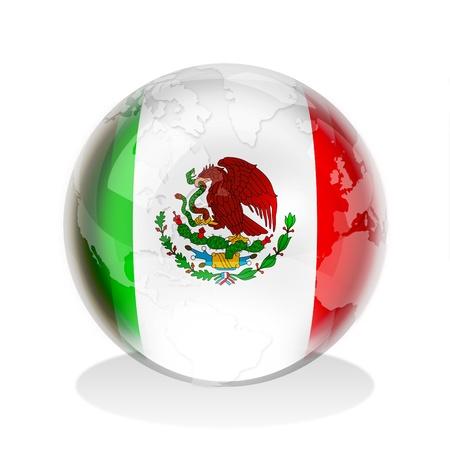 bandera mexicana: Esfera de cristal de la bandera mexicana con el mapa mundial Foto de archivo