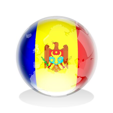 moldovan: Crystal sphere of Moldovan flag with world map