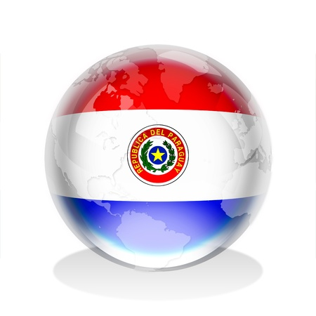 paraguay: Crystal sphere of the flag of Paraguay with world map