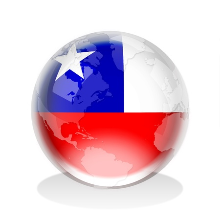 chile flag: Crystal sphere of Republic of Chile flag with world map Stock Photo