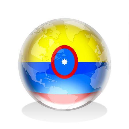 flag of colombia: Esfera de cristal de la bandera de la Rep�blica de Colombia con el mapa mundial
