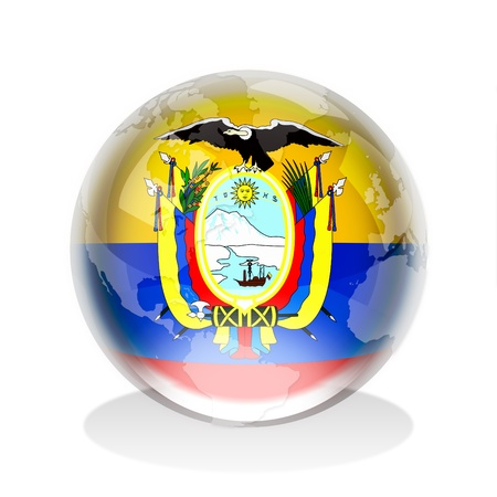 red sphere: Crystal sphere of Republic of Ecuador flag and world map Stock Photo