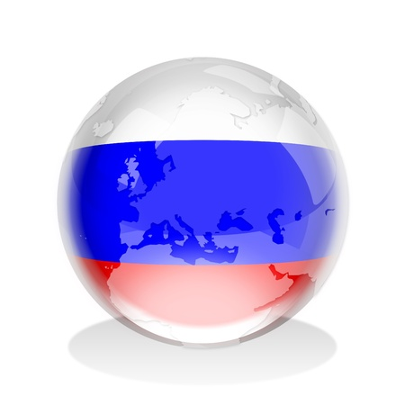 russian flag: Crystal sphere of Russian flag with world map