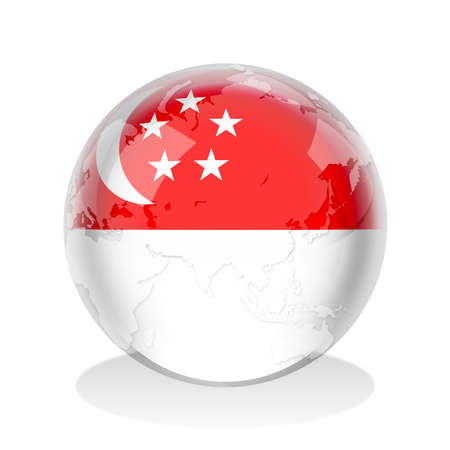 singaporean flag: Crystal sphere of Singaporean flag with world map
