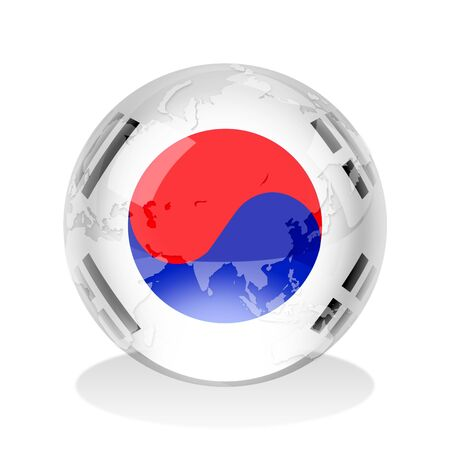 south korea: Crystal sphere of South Korean flag with world map Stock Photo