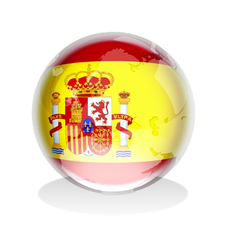 spanish flag: Crystal sphere of Spanish flag with world map