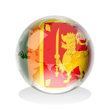 socialist: Crystal sphere of Democratic Socialist Republic of Sri Lanka flag with world map