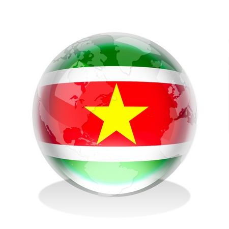 Suriname: Crystal sphere of the flag of Suriname with world map