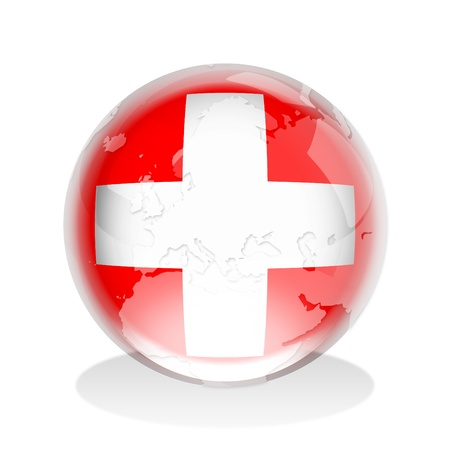 Illustration of a glass sphere with Switzerland flag and world map in it illustration