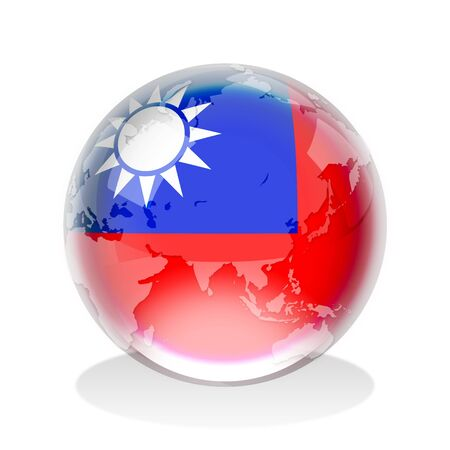 Crystal sphere of Taiwanese flag with world map photo