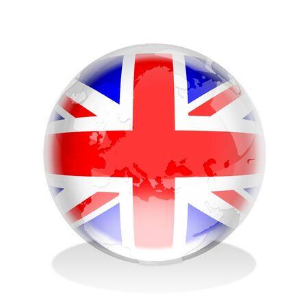 Crystal globe of the United Kingdom flag photo
