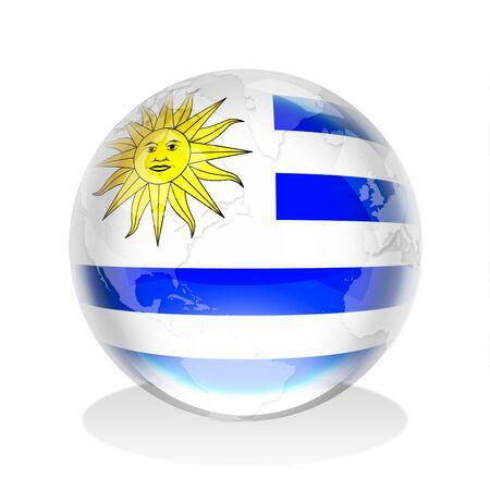 bandera de uruguay: Esfera de cristal de la bandera de Uruguay con el mapa mundial Foto de archivo