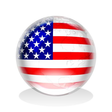 sphere: Illustration of a crystal sphere with American flag and world map