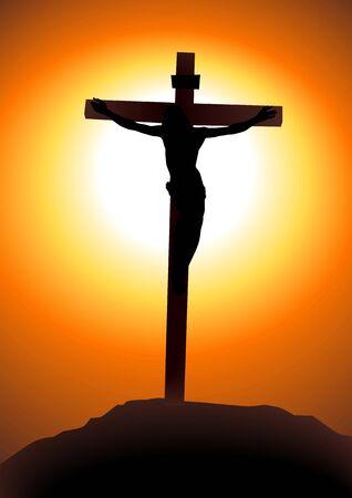 kruzifix: Vektor-Illustration von Jesus Christus auf dem Kreuz