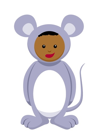 Kid with mouse costume Vector